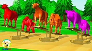 Learn Colors with Animals play #Seesaw game and water colors cartoon for Kids