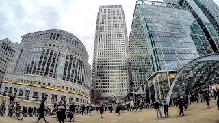 A Walk Around Canary Wharf. Spring Afternoon In London