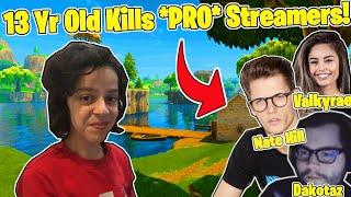 KID Kills Twitch Streamers - DAKOTAZ, FAZE REPLAYS, NATE HILL, VALKYRAE  - Fortnite Battle Royale