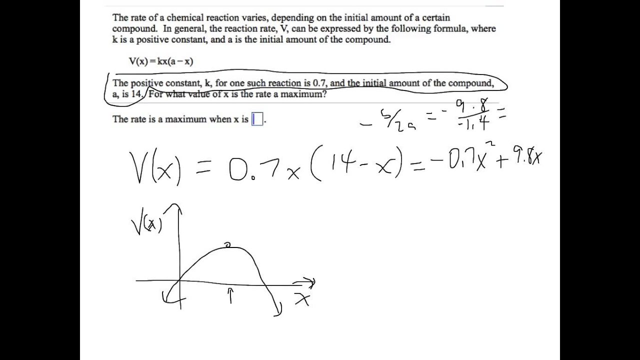 Quadratic Function Word Problem
