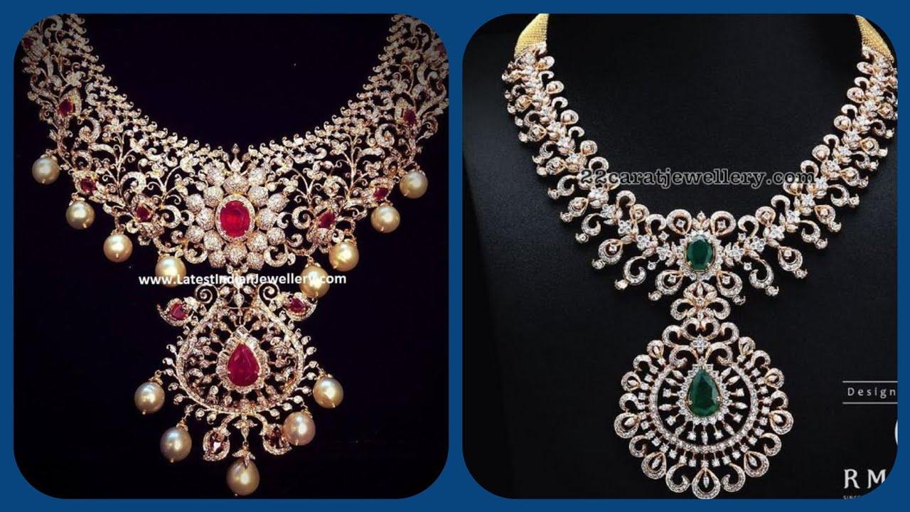 Party Wear Bridal Diamond Necklace Designs New Lovely Heavy Diamond Set Ideas Youtube