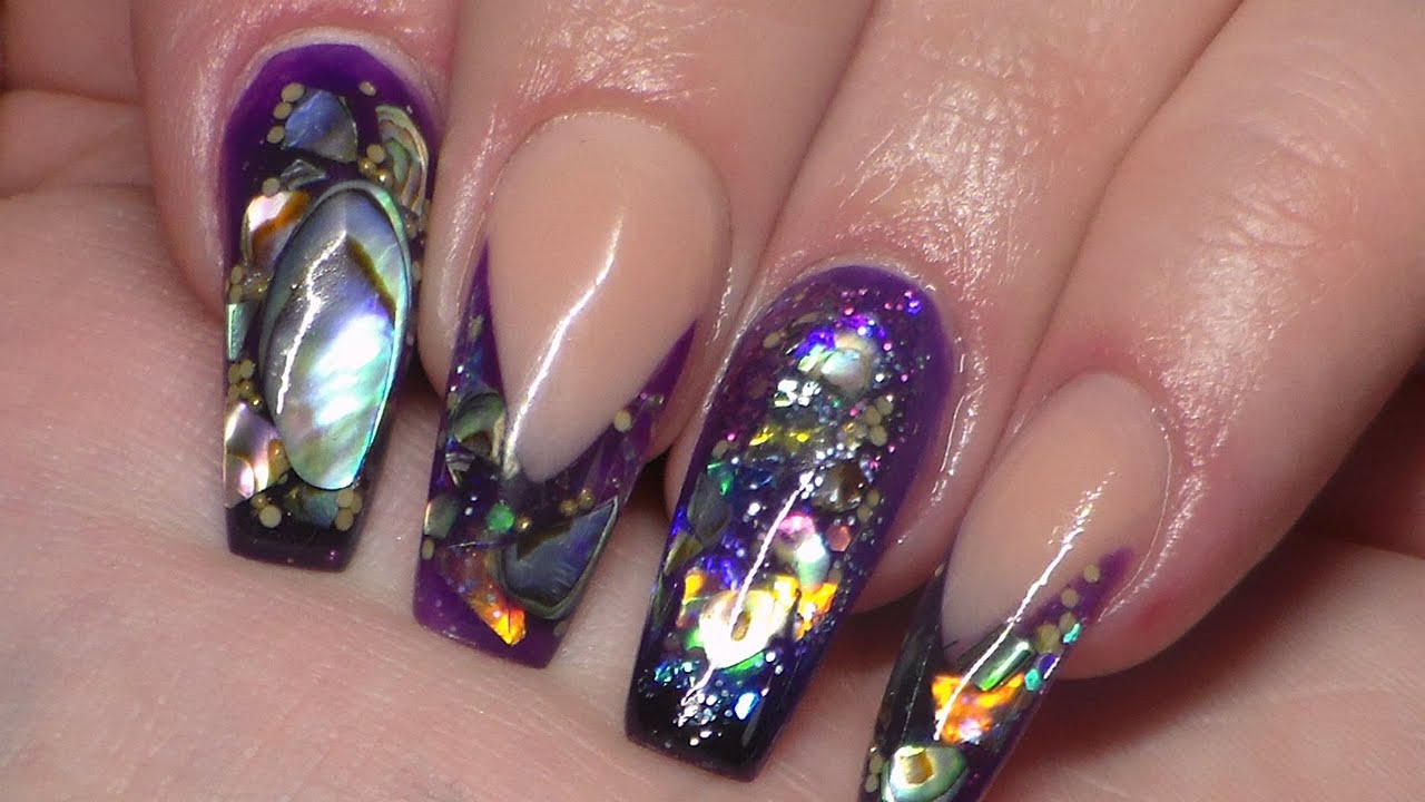 Acrylic nails paua shell new nail art youtube prinsesfo Choice Image