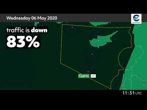 Air traffic situation over Cyprus - 6 May 2020 vs 8 May 2019