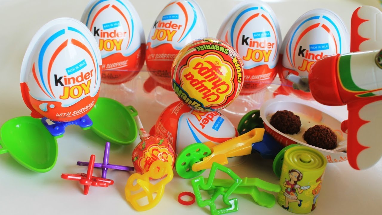 Surprise Eggs Kinder Joy Race Car Chupa Chups Surprise #5 with Disney Plane