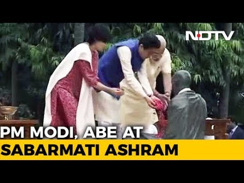 PM Modi, Japan's Abe Visit Sabarmati Ashram After Roadshow