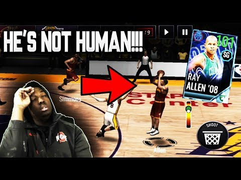 101 OVR NBA PLAYOFFS MASTER RAY ALLEN GAMEPLAY!!! NBA LIVE MOBILE 18