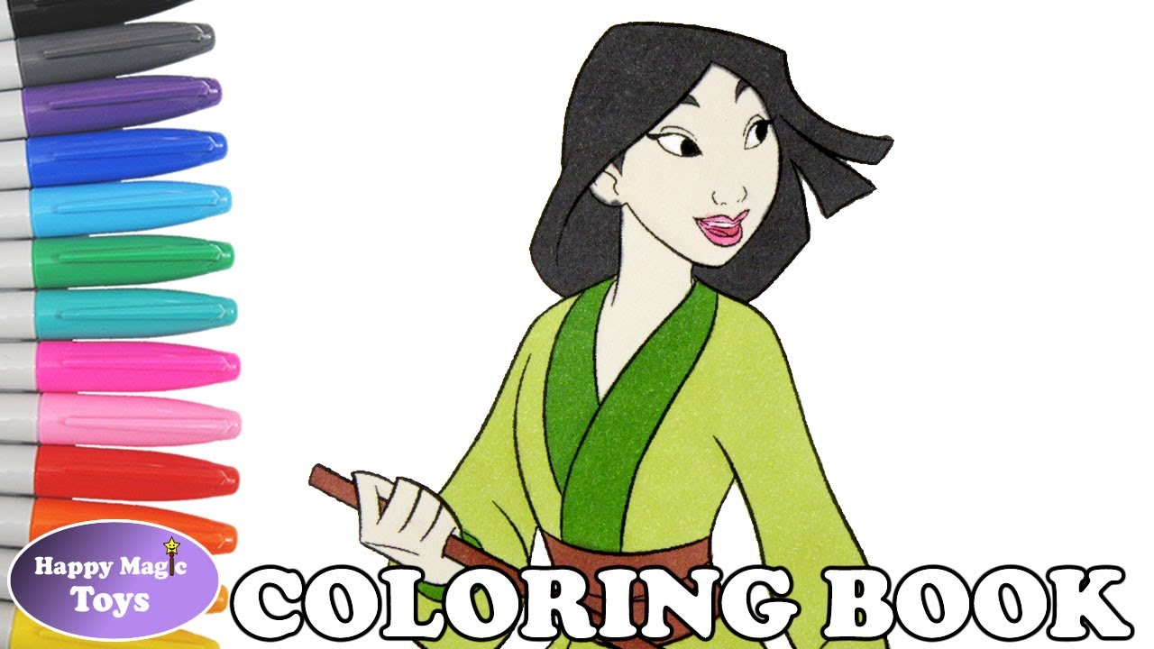 Disney Mulan Coloring Book Page Princess Kids Art