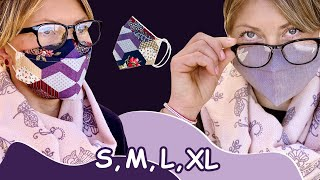 FACE MASK 4 IN 1 REVERSIBLE IN 4 SIZES 3d Face Mask and Non Fog On Glasses