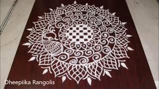creative freehand peacock rangoli  ll simple & easy kolam ll rangoli designs for competitions