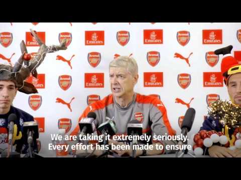 Arsene Wenger, Hector Bellerin and Santi Cazorla feature in mock Arsenal press conference