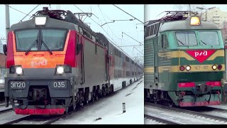 Встреча ЭП20-035 с двухэтажным №104 и ЧС7-167 с поездом №382