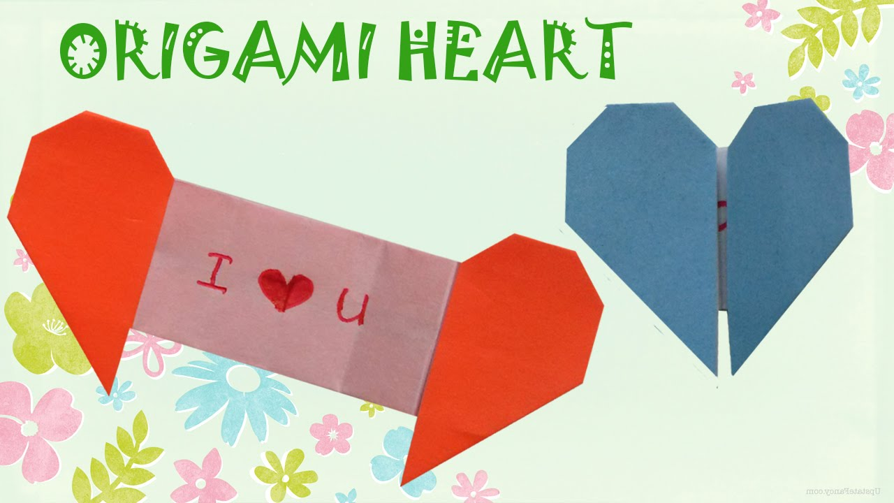 origami heart with message origami easy youtube