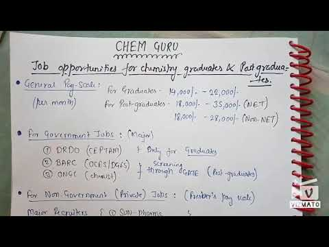 Jobs opportunities for chemistry students in India PART (1)