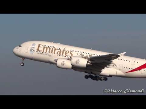 [Dubai Expo 2020] Emirates A380 landing/taxi/take off @ Rome Fiumicino Airport