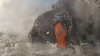 Rare Lava Hitting The Beach Footage COMPILATION