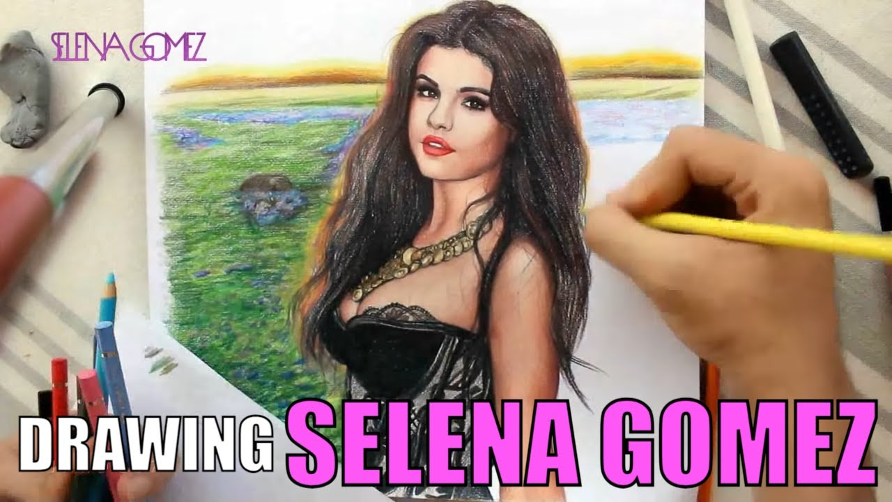 drawing selenagomez by juan andres comeandgetit youtube
