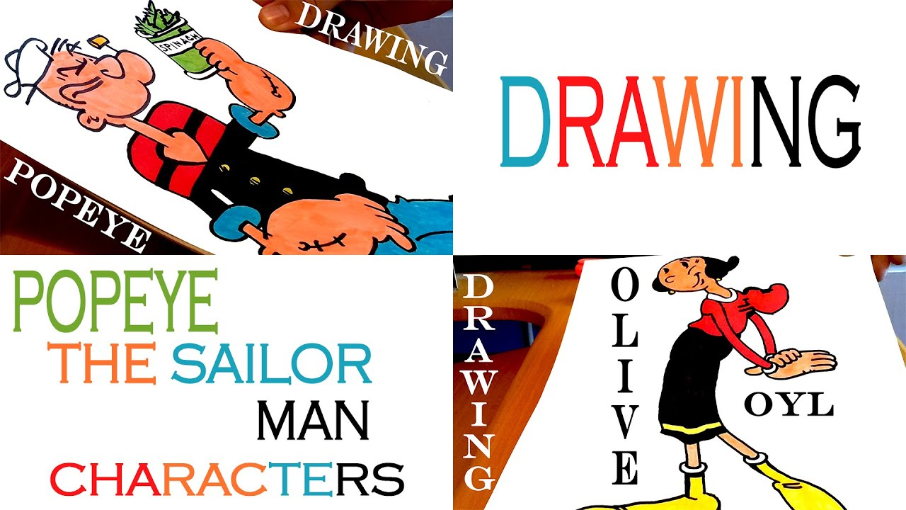 how to draw popeye the sailor man characters easy popeye and olive