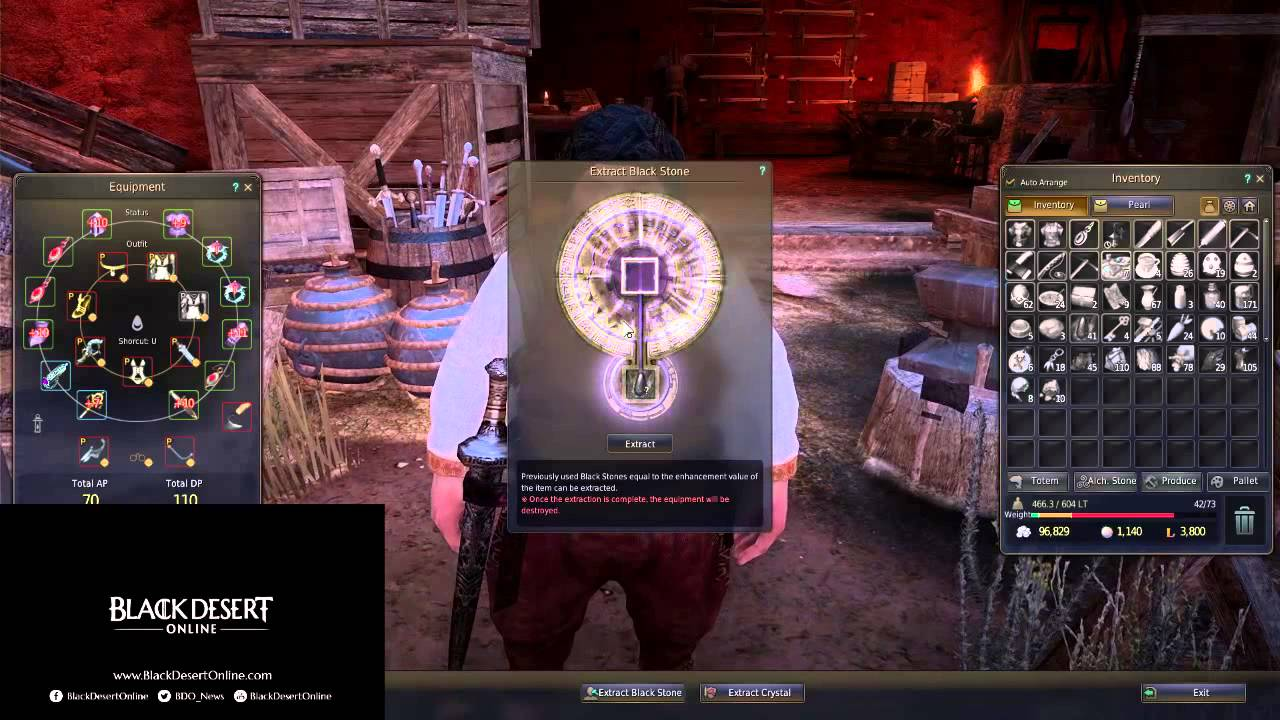 Black Desert Online Extracting Blackstones from +15 Yuria Staff