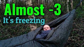 Solo hammock camping iฑ cold winter temperatures