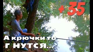 Рыбалка в жару на реке УРШАК Клевое место А КРЮЧКИ ТО ГНУТСЯ