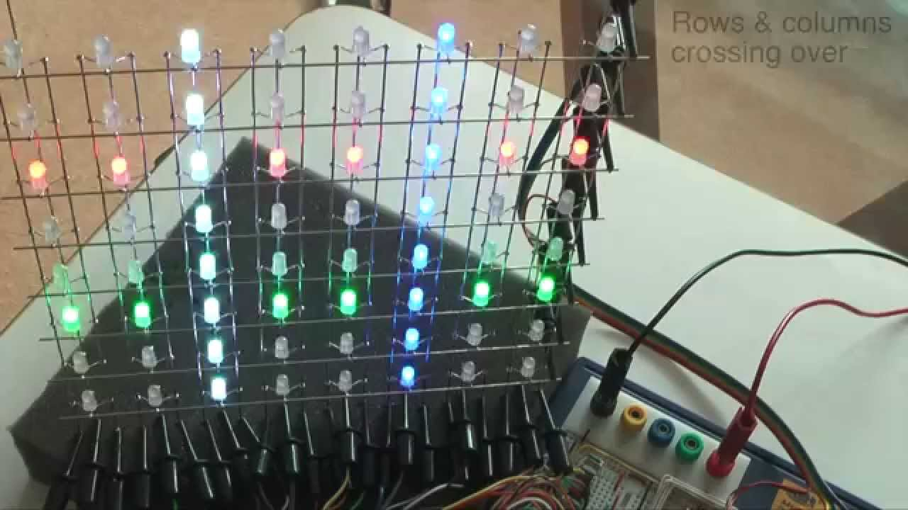 construction of an 8x8x8 rgb led cube part 4 testing 8x8 panels youtube [ 1280 x 720 Pixel ]