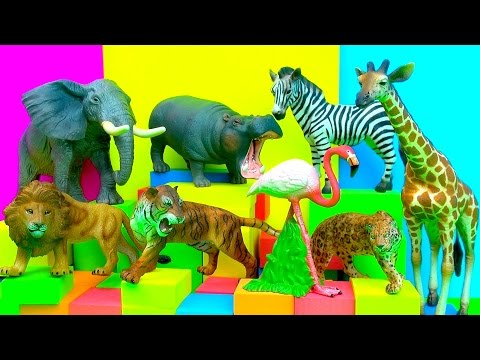 Happy Cute Zoo Animals Lion Tiger Zebra Elephant Hippopotamus Toy Review - FUN Ending