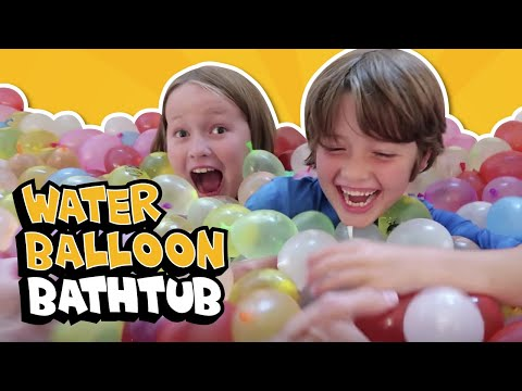 HOW TO GET 2000+ WATER BALLOONS IN A BATHTUB! // The Holderness Family