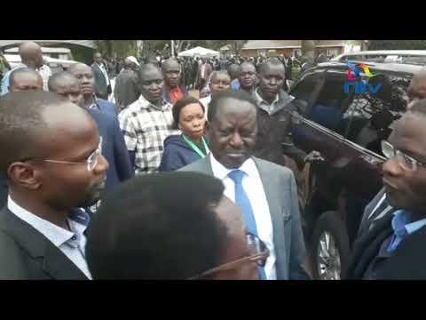 Jovial Raila Odinga leaving Bomas of Kenya after NASA presser