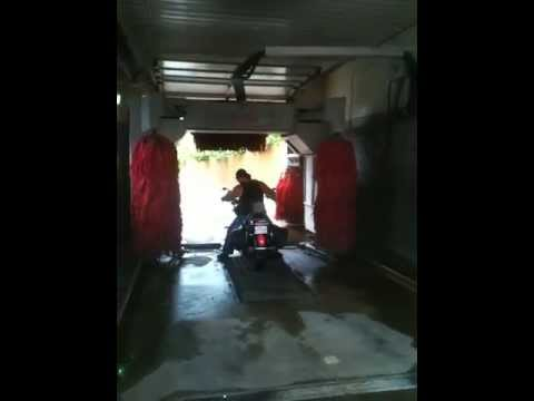 Motorcycle in Car Wash WITH BRUSHES