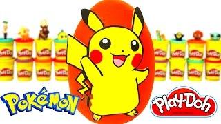 Ovo Surpresa Gigante do Pikachu de Pokemon em Português Brasil de Massinha Play Doh