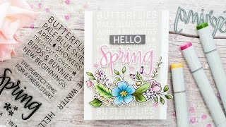 Hello Spring Simple Copic Coloured Die Cut Card Tutorial