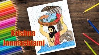 How to Draw Krishna Janmashtami Scenery | Janmashtami Festival
