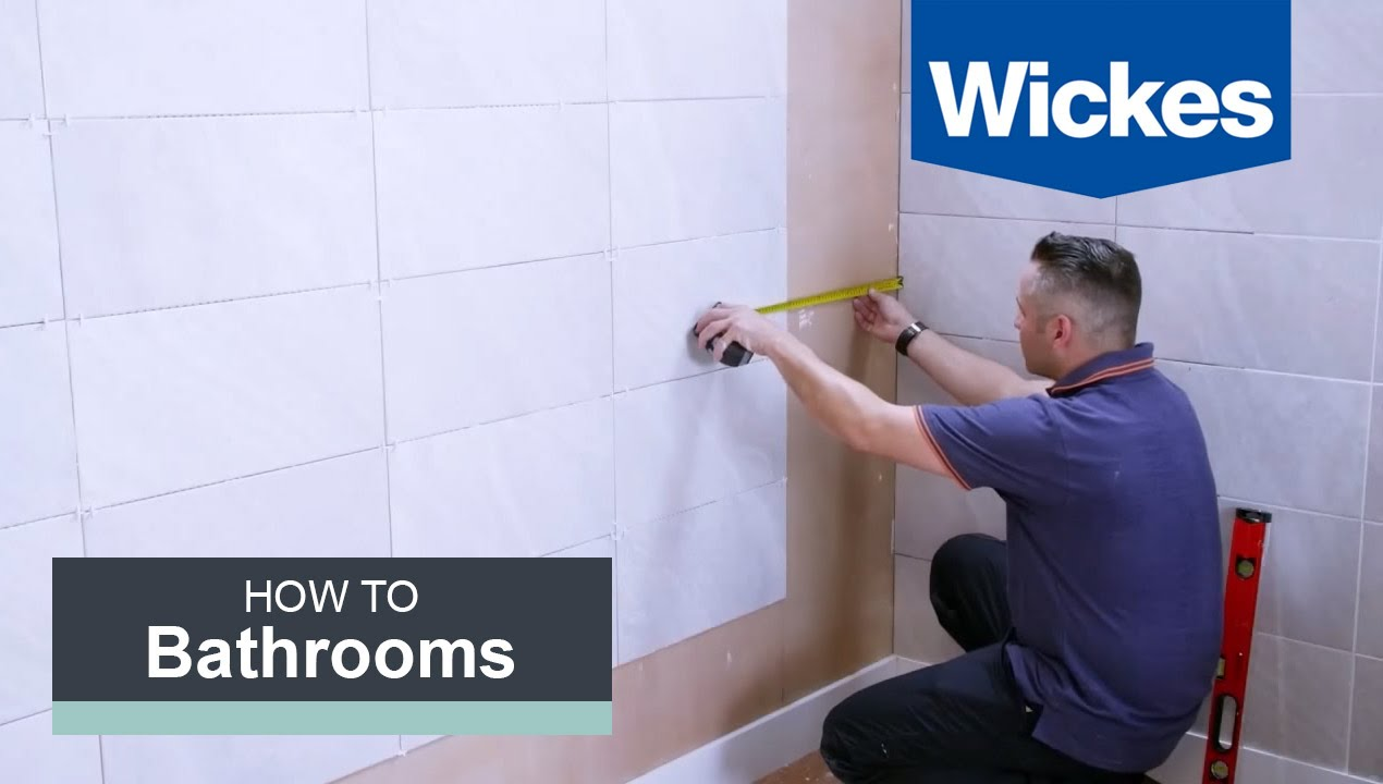 Great How To Tile A Bathroom Wall With Wickes   YouTube Part 8