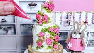 Miniature Buttercream Rose Cake - Mini Buttercream Rose Piping - Miniature Cooking Cusina ASMR