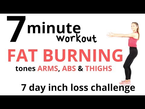 7 DAY CHALLENGE TO BURN FAT WITH THIS 7 MINUTE FAT BURNING WORKOUT and ARM, AB & THIGH TONING