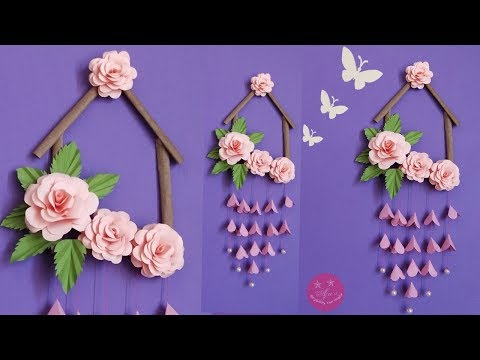 LOVELY PAPER ROSE WALL HANGING | WALL HANGING MADE WITH BROWN PAPER BAG