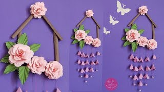 LOVELY PAPER ROSE WALL HANGING   WALL HANGING MADE WITH BROWN PAPER BAG