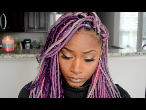 How-to| Dye Synthetic Faux Locs PURPLE with Liquid Chalk!! + My ...