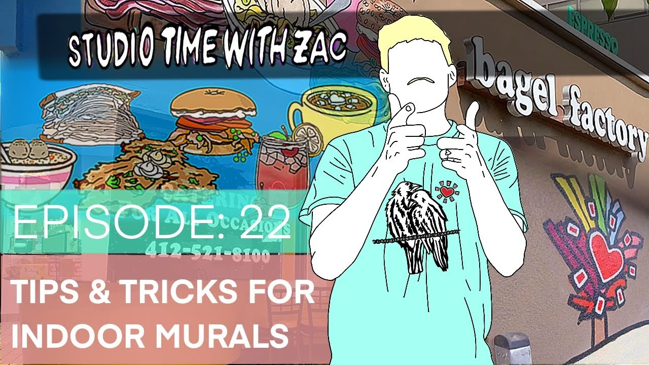 TIPS & TRICKS for Indoor Murals - Studio Time With ZAC #022 - The Bagel Factory - Zachary Rutter Art