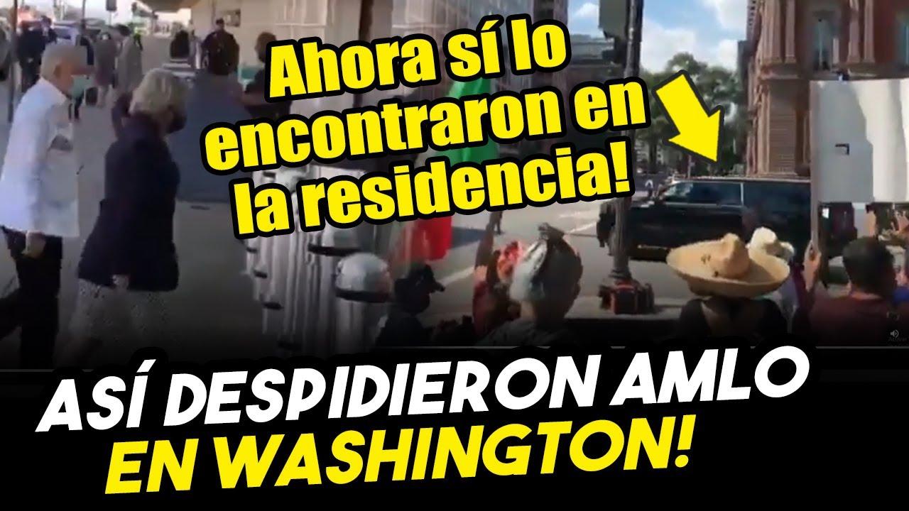 Mexicanos llegan residencia de Obrador en Washington para despedirlo
