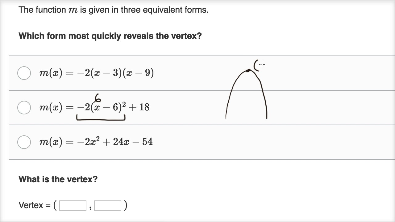 standard form of a quadratic function  Worked examples: Forms & features of quadratic functions ...