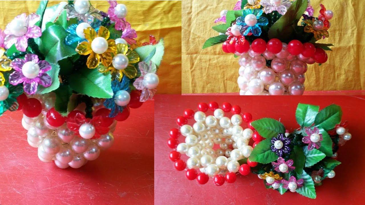 Diy flower vase for home decor how to make new design beaded flower vase for room decor youtube Diy home decor flower vase