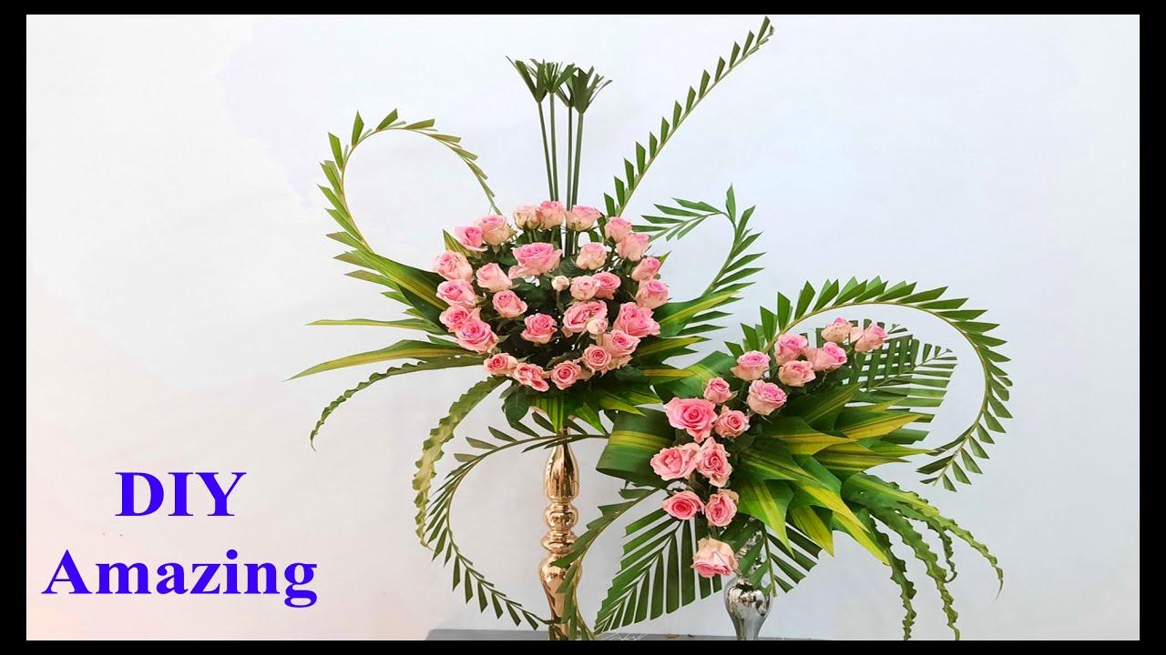 Hướng dẫn Cắm Hoa Hồng kết hợp lá dừa 2 tầng đẹp | Cắm Hoa bàn thờ