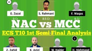 NAC vs MCC 1st Semi Final Match Dream11 Team Analysis, NAC vs MCC Dream 11 Today Match, MCC vs NAC