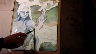 Serpentine Strands - watercolor time lapse painting