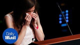 Amanda Knox breaks down in tears speaking at justice festival thumbnail
