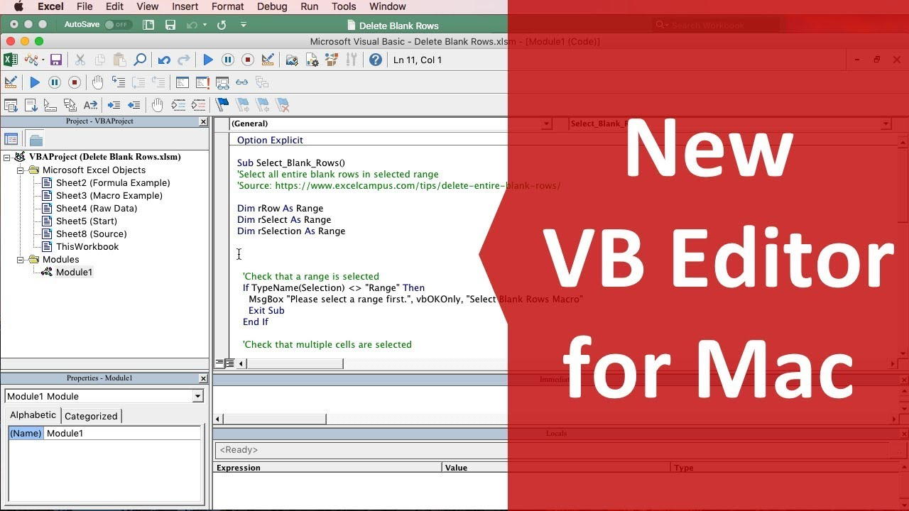 Visual Basic Editor Vba Updates For Excel For Mac