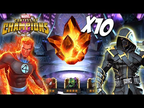 10x-4-star-crystal-opening-|-hunting-human-torch-&-ronin:-marvel-contest-of-champions