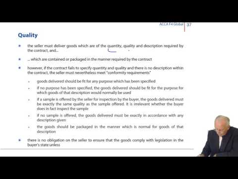 ACCA F4 Global - International Sale Of Goods Contracts – The Seller's Obligations