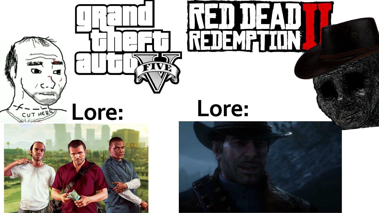 GTA V Lore vs RDR2 Lore (Gotye - WokeUpLikeThis meme)